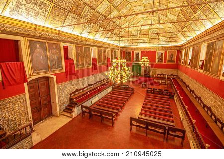 Coimbra, Portugal - August 14, 2017:aerial view of interior of Sala dos Capelos or Great Hall of Acts, the main hall of University of Coimbra.Unesco Heritage Site and most important tourist attraction