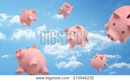 3d rendering of a many pink piggy banks flying freely on the blue cloudy sky background. Wishes for wealth. Saving up money. Money management strategy.