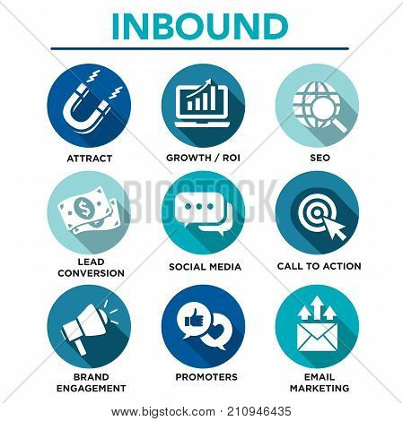 Inbound Marketing Vector Icons With Cta, Growth, Seo, Etc