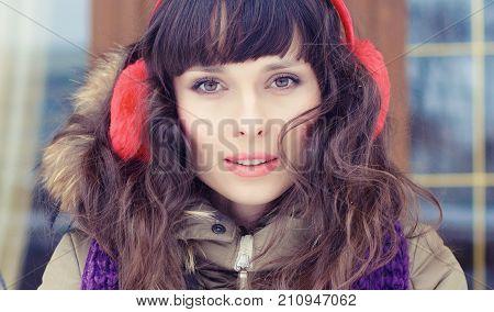 Winter Portrait Of A Young Woman. Beauty Joyous Model Girl