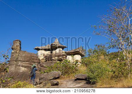 Mushroom stone beauty with blue sky at Phu Pha thoep National Park Mukdahan county of Thailand