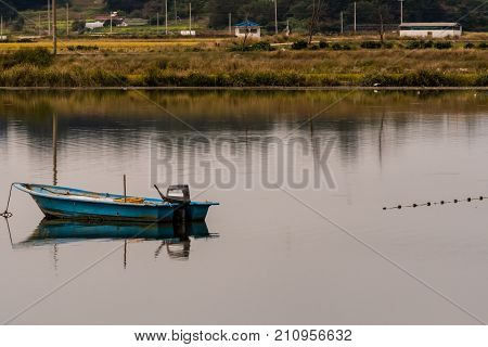 Small blue fishing boat with outboard motor in the middle of lake with tall reeds and grass on shore in background