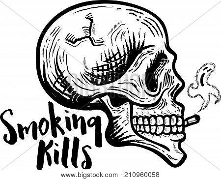 Smoking kills. Retro vintage Smoking skull vector illustration.