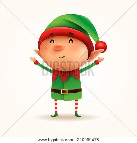 Little Elf. Vector illustration of elf on white background. Isolated.
