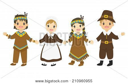 happy Native American and Pilgrim boys and girl holding hands, Thanksgiving cartoon vector