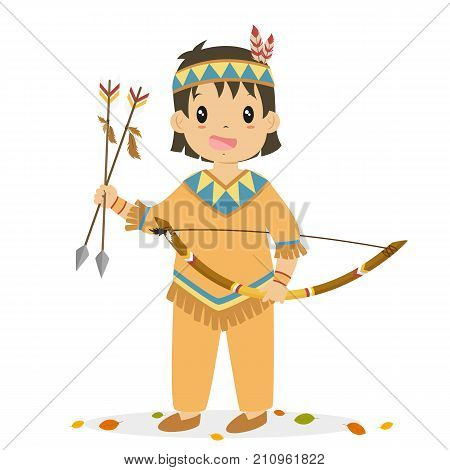 Native American boy holding a bow and arrows. Thanksgiving Native American boy character cartoon vector.