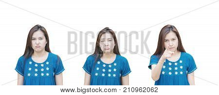 Closeup asian woman with three emotion face isolated on white background