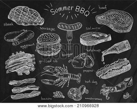 beautiful illustration summer bbq food, ribs, sausage, beef, steak, eggplant, burger, bacon, vegetables, herbs, mushroom, hot dog, lobster, calamari, ketchup, salmon, pepper on chalkboard background