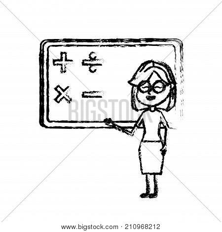 figure woman teacher teaching to the student in the blackboard vector illustration