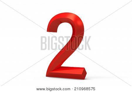 3D Render Red Beveled Number 2