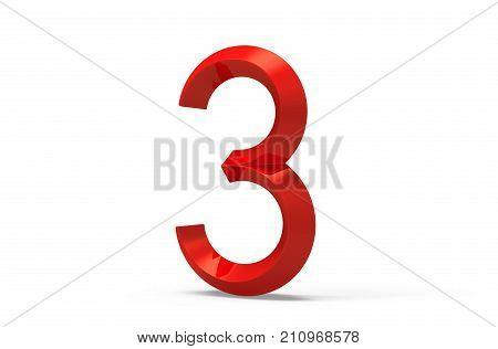 3D Render Red Beveled Number 3