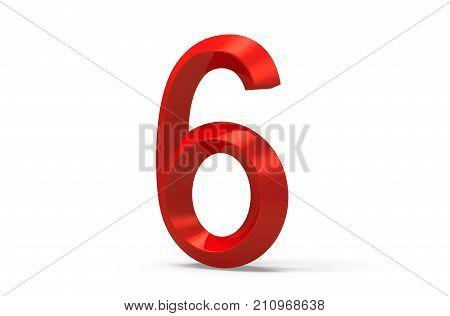 3D Render Red Beveled Number 6