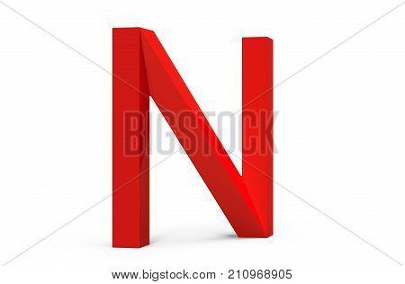 3D Render Red Beveled Alphabet N