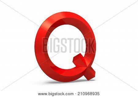 3D Render Red Beveled Alphabet Q