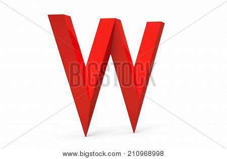 3D Render Red Beveled Alphabet W