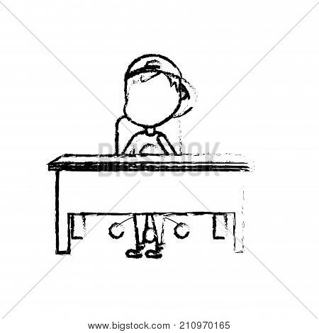 figure boy student sitting in the wood desk vector illustration