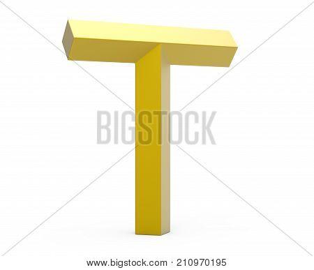 3D Render Golden Beveled Alphabet T