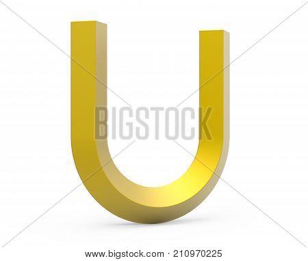 3D Render Golden Beveled Alphabet U