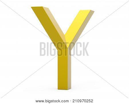 3D Render Golden Beveled Alphabet Y