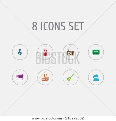 Collection Of Acoustic, Tape, Rhythm Motion And Other Elements.  Set Of 8 Melody Icons Set.