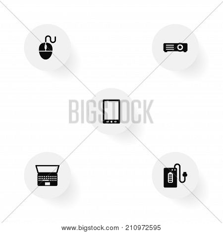 Collection Of Supply, Palmtop, Control Device And Other Elements.  Set Of 5 Notebook Icons Set.