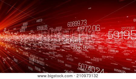 Data transmission channel. Motion of digital data flow. Transferring of big data. Transfer and storage of data sets