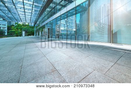 Modern office building outdoor and empty pavement Kuala Lumpur Malaysia .