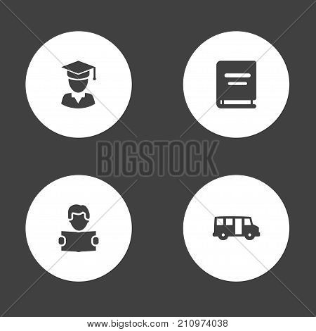 Collection Of Textbook, School Autobus, Diplomaed Male And Other Elements.  Set Of 4 Education Icons Set.