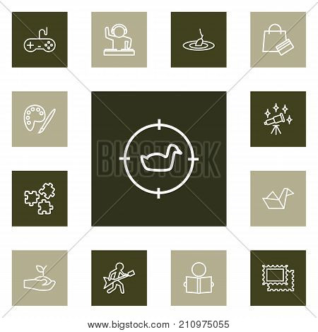 Collection Of Fishing, Hunting, Guitar And Other Elements.  Set Of 13 Hobbie Outline Icons Set.