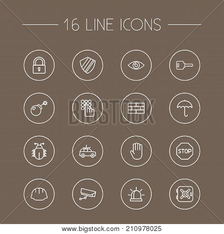 Collection Of Helmet, Keypad, Open And Other Elements.  Set Of 16 Procuring Outline Icons Set.