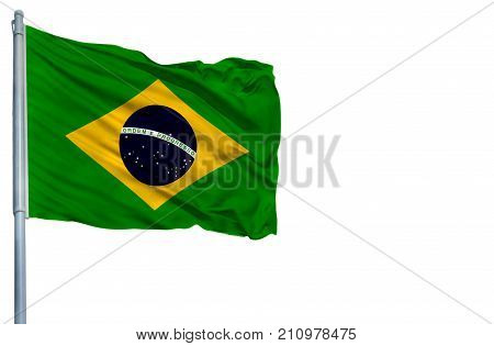 National flag of Brazil on a flagpole, isolated on white background.