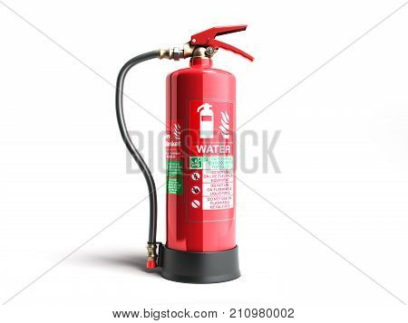 Water Fire Extinguisher 3D Render On White Background