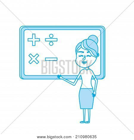contour woman teacher teaching to the student in the blackboard vector illustration