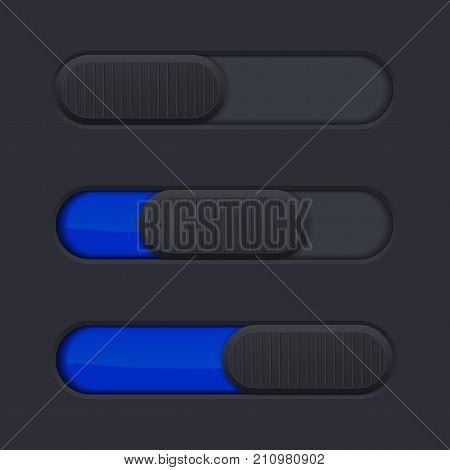 Interface slider bar. Blue bar on black background. Vector illustration