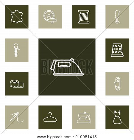 Collection Of Needle, Tremble, Measuring Tape And Other Elements.  Set Of 13 Sewing Outline Icons Set.