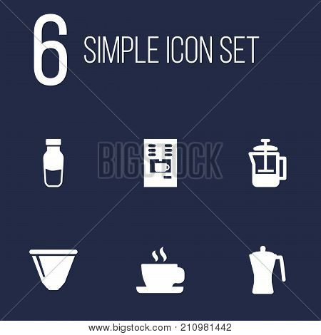Collection Of French Press, Coffeemaker, Mocha And Other Elements.  Set Of 6 Coffee Icons Set.