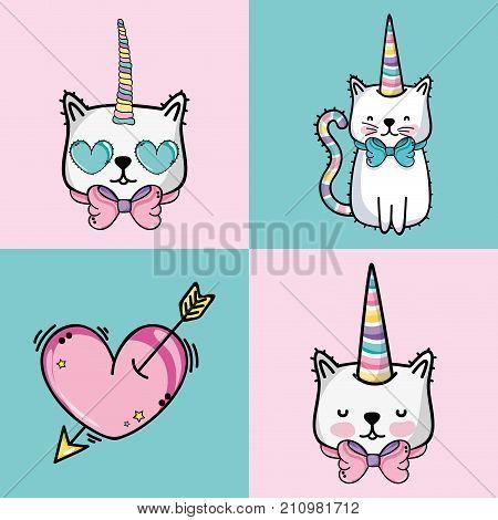 set fashion cute patch decoration design vector illustration