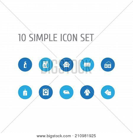 Collection Of Machine, Wisp, Clothes And Other Elements.  Set Of 10 Cleaning Icons Set.