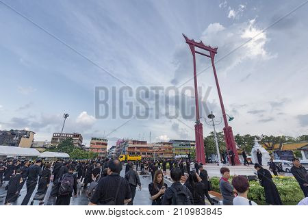 BANGKOK THAILAND - OCTOBER 26: Unidentified people gather for the cremation of Rama 9 the former king at the giant swing in Bangkok Thailand on October 26 2017.