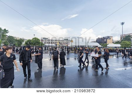 BANGKOK THAILAND - OCTOBER 26: Unidentified people gather for the cremation of Rama 9 the former king in Bangkok Thailand on October 26 2017.