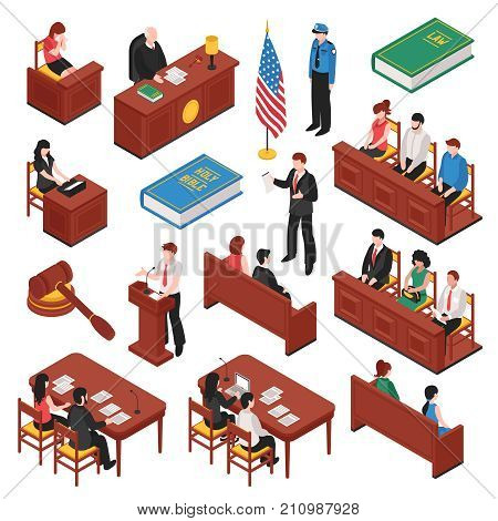 Law and order isometric set of jury court policeman lawyer witness prosecutor victim mallet isolated vector illustration