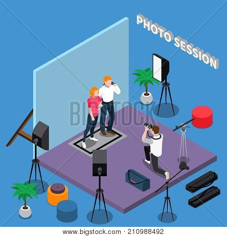 Photo session isometric composition with posing models, photographer during shooting, professional equipment on blue background vector illustration