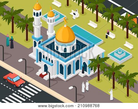Arab muslims near mosque isometric composition with roadway and park with saudi people on benches vector illustration