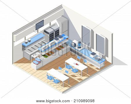 Fast food self service restaurant isometric interior composition with refectory equipment tables with chairs and furniture vector illustration