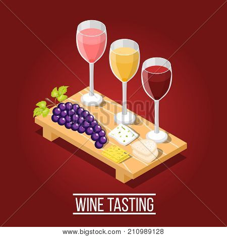 Isometric wine production background with images of wooden carving board wine glasses grape and cheese pieces vector illustration