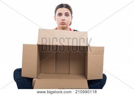 Unhappy Woman Employee Holding Empty Box