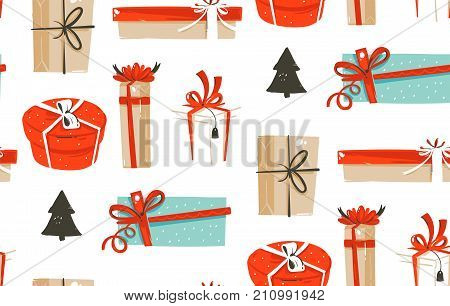 Hand drawn vector abstract fun Merry Christmas time cartoon illustrations seamless pattern with cute retro vintage Christmas gifts boxes isolated on white background