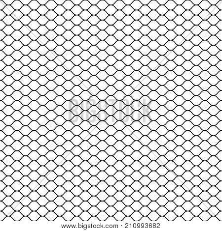 Wired fence. Chain link fence. Fish net. Net seamless pattern. Rope net vector silhouette. Fisherman hunting net. Vector illustration.