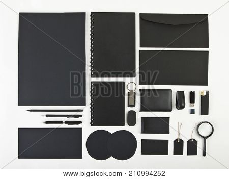 Elements of corporate identity black corporate identity black design elements set to accommodate corporate identity collection of corporate identity isolated on white background