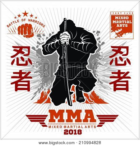 Ninja Warrior Fighter - Mixed Martial Art - vector illustration on white background
